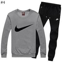 NIKE autumn and winter models men's plus velvet round neck shirt casual thin section feet pants sportswear two-piece suit #4