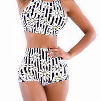 Daisy Print High Waisted Bikini Swimsuit Set