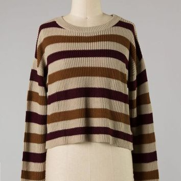 Down To Earth Cropped Sweater (Taupe)