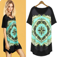Printed Short-Sleeve Asymmetrical Shirt Dress