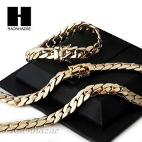 DCCKH7E 14k Gold Finish Heavy 12mm Miami Cuban Link Chain Necklace Bracelet Various SetE