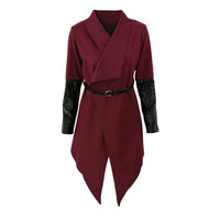 Waterfall Faux Leather Long Sleeves Trench Cape Coat