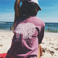 2016 Free shipping Summer Ivory Ella T-shirt Women Tops Tee Print Animal Elephant T Shirt Loose Long Sleeve Harajuku Tops LC017