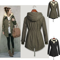 New Fashion Women Winter Long Sleeve Hooded Fur Coat Casual Warm Cotton Long Parka Jacket Plus Size [8801910092]