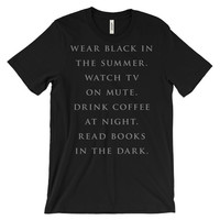 Contrarian : coffee, tv, books, music, outsider apparel, lowbrow t-shirt, goth kids, black t-shirts, shirts with text, nu goth tshirt