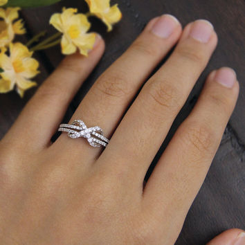 Infinity Engagement Ring-Small Round Pave Set Diamond Simulants-2 Row Shank-Promise Ring-Statement Ring-925 Sterling Silver-R10752