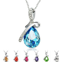 72PCS 2015 new arrive Sterling Silver Necklace Luxurious Blue austrian crystal Angel's tear Pendant in stock now D113
