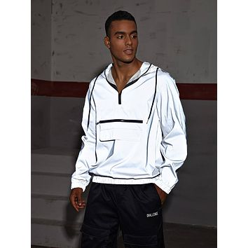 Men Zip Detail Flap Detail Reflective Anorak Jacket