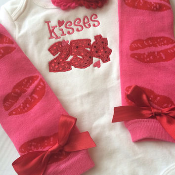 Baby Girl Outfit - Baby Valentines Day outfit - kisses 25 cents - valentines leg warmers - valentines photo prop -valentines headband