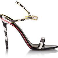 Emilio Pucci - Neon-trimmed snake-effect leather sandals