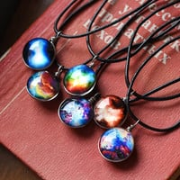 Double Side Glass Cabochon Jewelry with Illusion Pattern Choker Statement Long Leather Rope Chain Necklace for Women