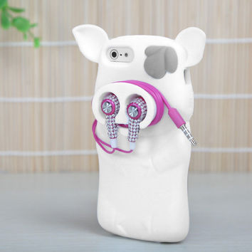 For Apple iPhone 5 5S SE Rubber SILICONE Soft Gel Skin Case Cover White Pig Nose