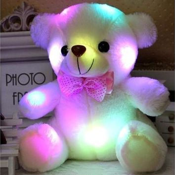 Night Light LED Flash Stuffed Plush Bear Soft Doll Toy Home Decor Xmas Birthday Valentine's Gifts [9305771015]