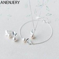 Sterling Silver Jewelry Sets / Bud Leaf Simulated Pearl Necklace+Earrings+Bracelet / Korean Jewelry