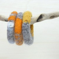 Felted Chunky Bangles - Knitted Jewelry - Organic Wool - Winter Accessories   Luulla