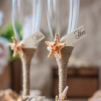 BEACH  champagne flutes / bride and groom wedding glasses with rope, starfish, shells!
