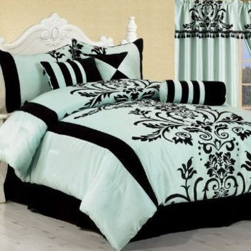 Chezmoi Collection 7-Piece Aqua with Blue and Black Floral Flocking Bed-in-a-Bag Comforter Set, King