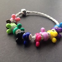 Colorful Mickey Mouse Leather Charm Bracelet with Charms Pendants Minnie (White)