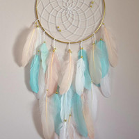 Nursery Bedroom Dream Catcher Wall Decor, Large Feather Gold Dream Catcher, Mint Blush White  Nursery Bedroom Decor, Feather Wall art