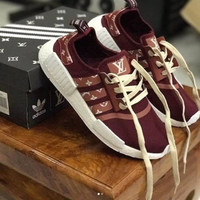 shosouvenir : adidas NMD x LV Louis Vuitton Burgundy Women Fashion Trending Running Sports Shoes