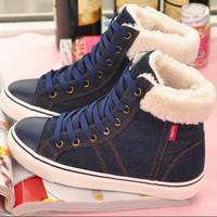 44 high top fashion women's winter shoes 2016 new denim canvas shoes female warm casual snow boots  botas invierno mujer casual