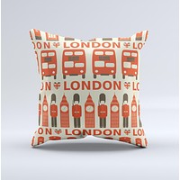 Vector Tan and Red London Ink-Fuzed Decorative Throw Pillow