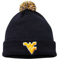 West Virginia Mountaineers Top of the World Simple Knit w/ Pom Beanie – Navy Blue