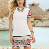 White Tribal Print Short Sleeve Dress