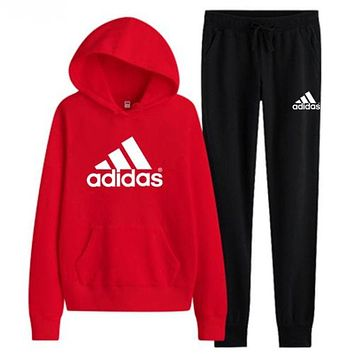 Adidas Casual Print Hoodie Top Sweater Pants Trousers Set Two-piece High quality Sportswear