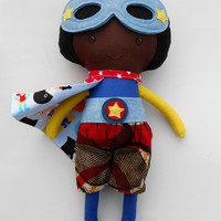 African american superhero boydoll with superhero mask and cape, black doll toy for kids boys toddlers. brown skinned afro doll