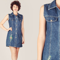 90s Denim Embroidered Mini Dress / Button Up Dark Jean Dress / Plain Casual Cute Medium M Mini Dress