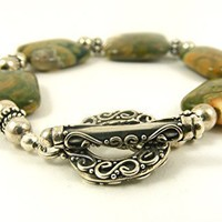 Chunky Gemstone Beaded Bracelet with Sterling Silver Toggle Clasp, Green Brown and Peach Rhyolite