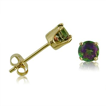 4MM Round Mystic Topaz Stud Earrings in 14K Yellow Gold