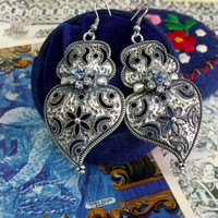 Portuguese folk Silver heart Viana earrings rhinestones Blue rhinestones Portugal jewelry art