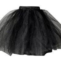 Wantdo Wedding Tutu Petticoat Elastic Waist Black QC012
