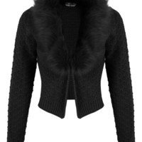 Black Faux Fur Collar Cardigan - Miss Selfridge