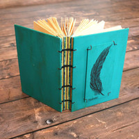 Rustic Teal Feather Pen and Ink Original Art Work Journal -Wedding Guest Book - Fall Wedding- Gift