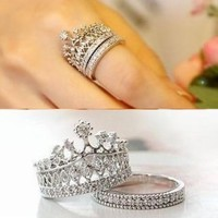 Stunning Princess Crown & Heart Round Cubic Zirconia Ring. Comes with a Free Box R62 (brass-plated-gold, 8)