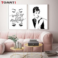 Classic Audrey Hepburn Potrait Make Up Modern Poster&Prints Canvas Painting Wall Art Modular Wall Picture For Bedroom Home Decor