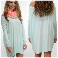 Ellington Mint Piko Long Sleeve Dress