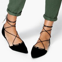 Lucy Suedette Ghillie Tie Pointed Flat