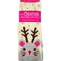 Bath & Body Works Shea Infused Lounge Socks Not A Creature Was Stirring Mouse