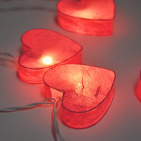 Red mulberry paper heart Lanterns for PatioWeddingParty by ginew