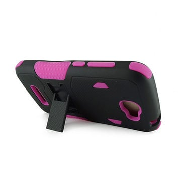 Alcatel OT7040T (One Touch Fierce 2)/ Pop Icon Black PC + Hot Pink Silicone Armor Case w/Stand