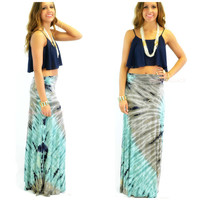 Day Tripping Gray & Blue Tie Dye Maxi Skirt