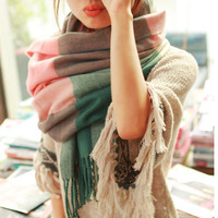 2015 Autumn and Winter Wool Fashion Leisure Scarf Men and Women Couple Section of Thick Plaid Scarf Shawl Long
