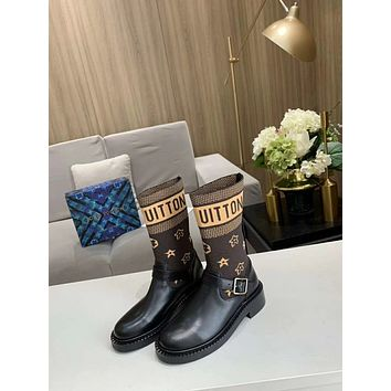 lv louis vuitton trending womens men leather side zip lace up ankle boots shoes high boots 217