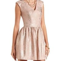 Textured & Foiled Cut-Out Skater Dress - Blush Combo