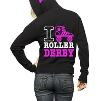 I Love Roller Derby Name Customize Zip Hoodie (Small, Black)