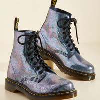 March Through Manhattan Leather Boot in Metal Crackle   Mod Retro Vintage Boots   ModCloth.com